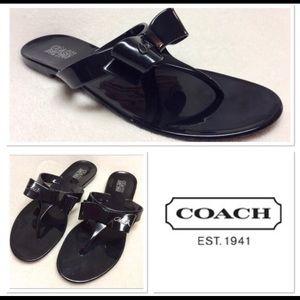 COACH patent leather bow flip flops